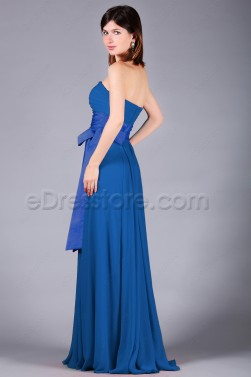 Strapless Royal Blue Long Prom Dresses
