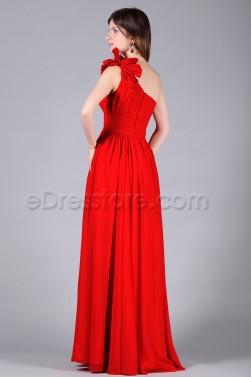 One Shoulder Folded Red Prom Dresses Long