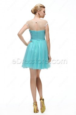 Aqua Blue Short Prom Dresses with White Lace