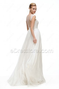Lace Chiffon Backless Wedding Dresses