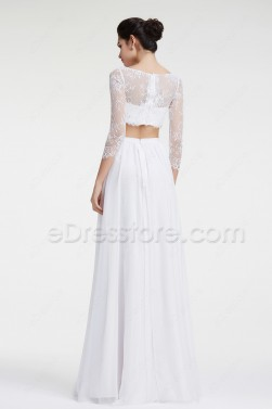 Lace Boho Wedding Dresses Two Piece Beach Wedding Dress Long Sleeves