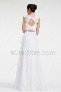 Lace Chiffon Two Piece Boho Beach Wedding Dresses