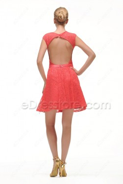 Coral Lace Backless Short Prom Dresses for Homecoming