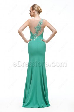 Green Mermaid Backless Prom Dress with sequins