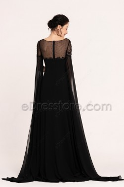 Black Beaded Long Prom Dresses with Slit Cape Sleeves Train