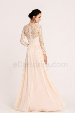 Blush Modest Lace Bridesmaid Dresses Long Sleeves