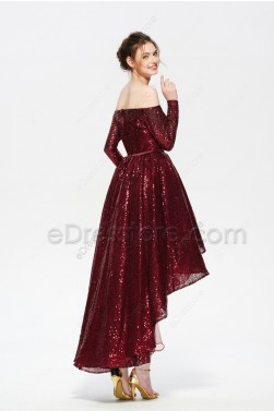 Burgundy High Low Sparkle Prom Dress Long Sleeves Off the SHoulder