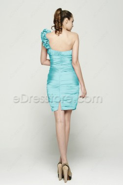 One Shoulder Sheath Ice Blue Short Prom Dresses