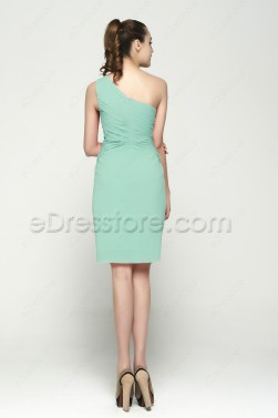 One Shoulder Mint Green Short Prom Dresses