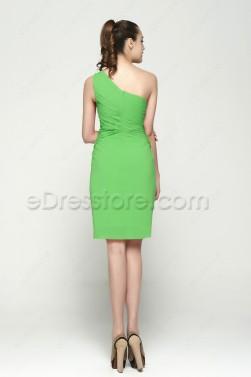 One Shoulder Lime Green Homecoming Dresses Knee Length