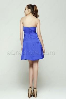 Strapless Royal Blue Short Prom Dresses