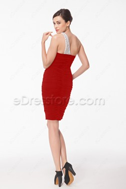 Red Sheath Stretchy Homecoming Dresses with Crystals