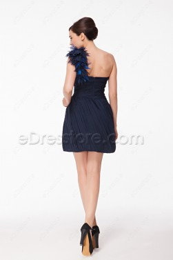 One Shoulder Navy Blue Cocktail Dresses