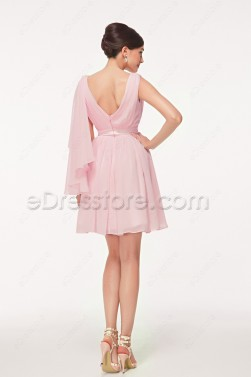 V Neck Pink Short Prom Dresses