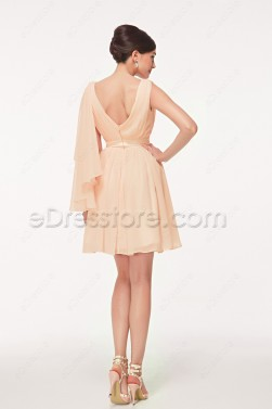 V Neck Light Peach Cocktail Dresses