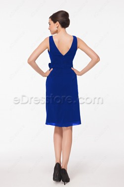 V Neck Royal Blue Cocktail Dresses Knee Length