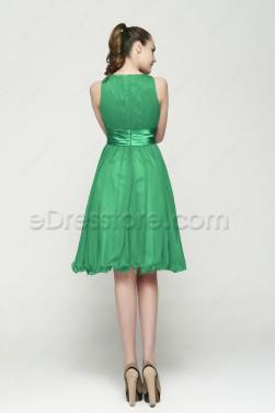 Modest Green Tea Length Homecoming Dresses
