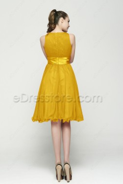 Modest Gold Tea Length Cocktail Dresses