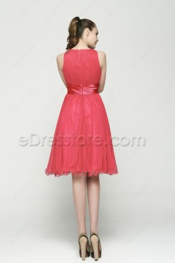 Modest  Coral Tea Length Prom Dresses