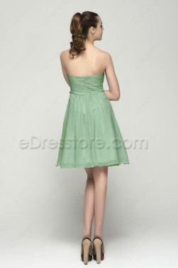 Strapless Sage Green Summer Bridesmaid Dresses Knee Length