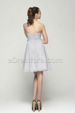 Strapless Grey Knee Length Bridesmaid Dresses Empire Waist