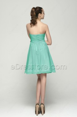 Strapless Mint Green Bridesmaid Dresses Knee Length