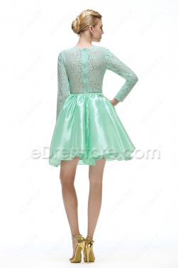 Mint Green Modest Short Prom Dress with Sleeves