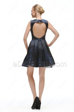 Mid Night Blue Backless Prom Dresses Short