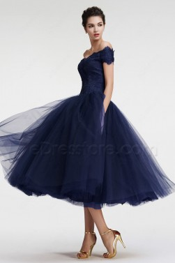 Navy Blue Off the Shoulder Ball Gown Vintage Evening Dress Tea Length