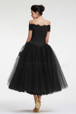 Black Vintage Off the Shoulder Ball Gown Homecoming Dress