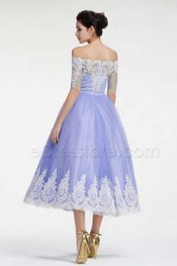 Off the Shoulder Lavender vintage Homecoming Dresses with Sleeves