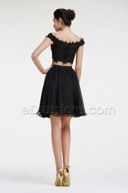 Off the Shoulder Black Sparkly Two Piece Prom Dresses Short
