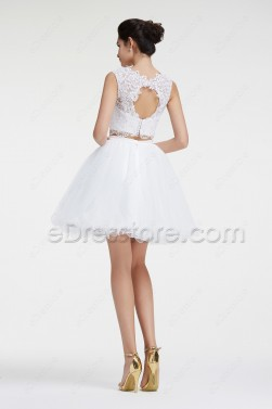 Backless White Two Piece Short Prom Dresses