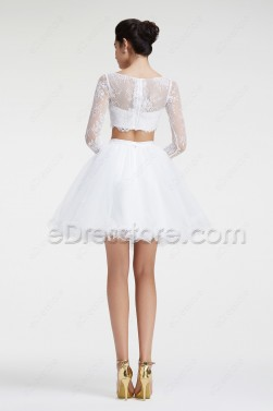 White Modest Two Piece Short Prom Dresses Long Sleeves