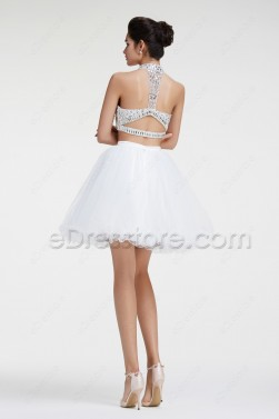 White Two Piece Crystal Sparkly Short Prom Dresses