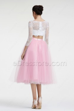 Light Pink Ball Gown Two Piece Prom Dresses Long Sleeves