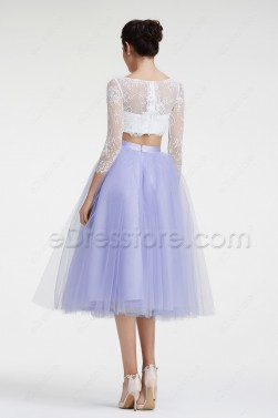Lavender Long Sleeves Cocktail Dresses Tea Length