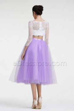 Orchid Long Sleeves Two Piece Homecoming Dresses