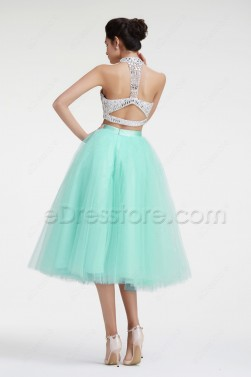 Mint Green Crystal Sparkle Two Piece Homecoming Dress