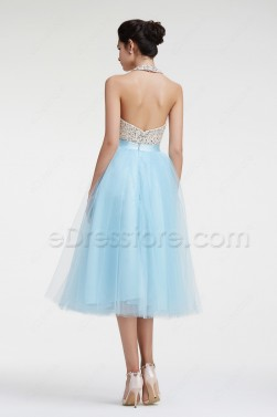 Light BLue Halter Backless Sparkly Prom Dresses Tea Length Homecoming Dresses