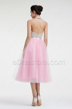 Beaded Crystal Halter Pink Homecoming Dresses