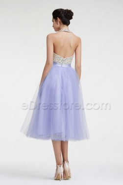 Beaded Halter Backless Lavender Cocktail Dresses Tea Length