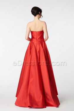 Red Ball Gown High Low Prom Dresses