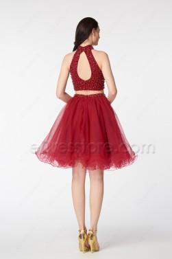Beaded Burgundy Short Prom Dresses