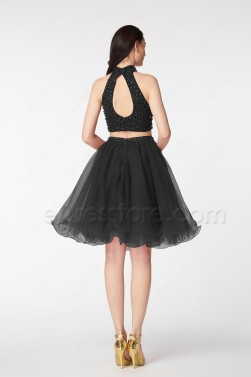 Black Two Piece Beaded Cocktail Dresses