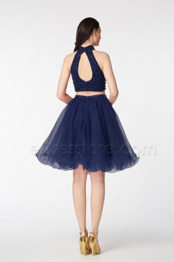 Navy Blue Beaded Two Piece Homecoming Dresses Short