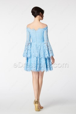 Scalloped Light Blue Off the Shoulder Boho Tiered Short Prom Dress Long Sleeves