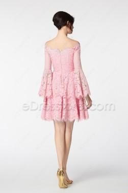 Pink Boho Cocktail Dresses Long Sleeves