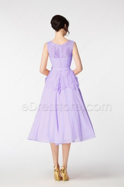 Lavender Cocktail Homecoming Dresses Tea Length