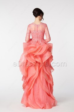 Coral Ruffled High Low Prom Dresses Long Sleeves